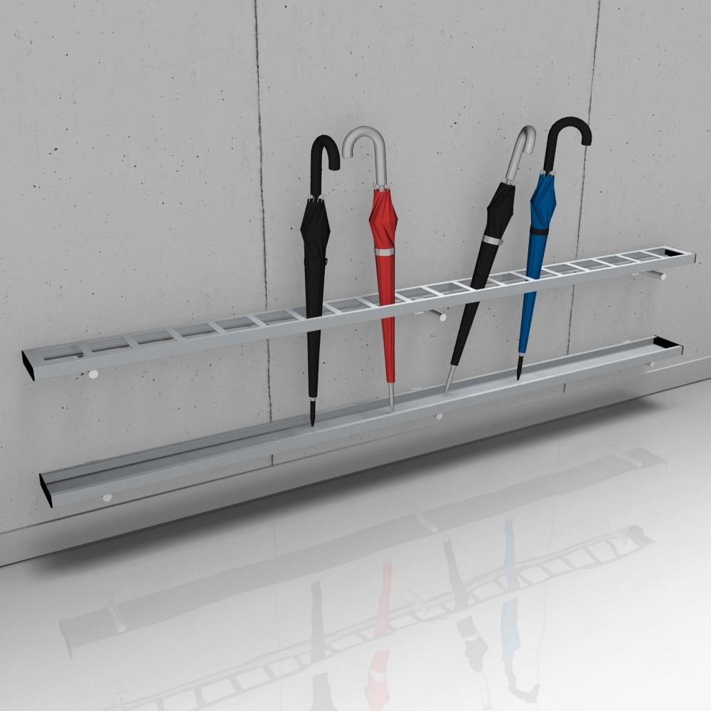 rontec Reihenschirmständer wandbefestigt, Modell 8311, mit eckigen Profilen
