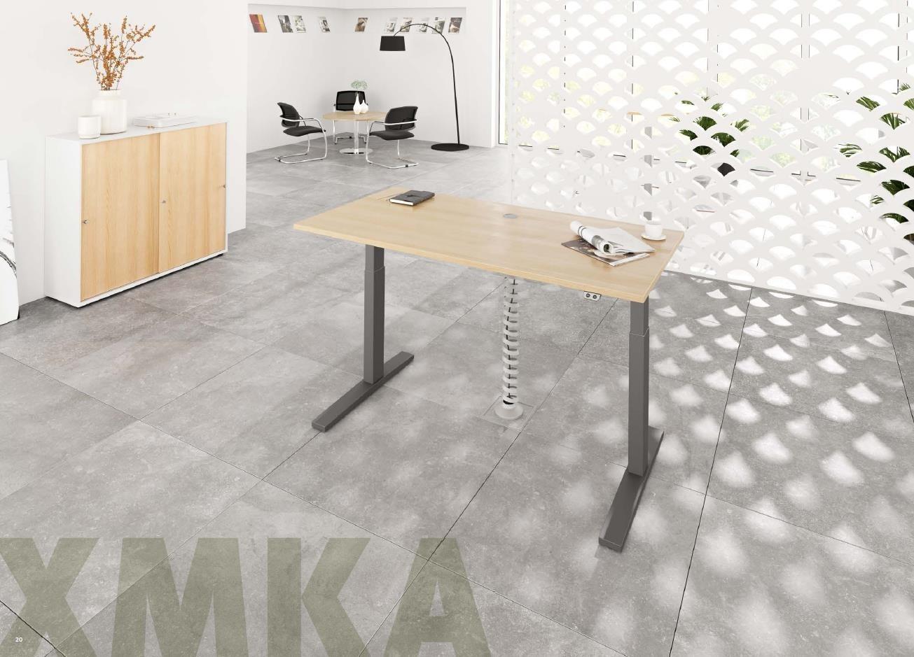 """Hammerbacher - Sitz-Steh-Tisch """"XMKA"""" 70-120 cm, """"XMKB"""" 64-129 cm"""