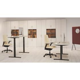 """Kinnarps """"Oberon"""" - Sitz-/Steh-Tische mit T-Fußgestell, Rundrohr oder Quadratrohr"""