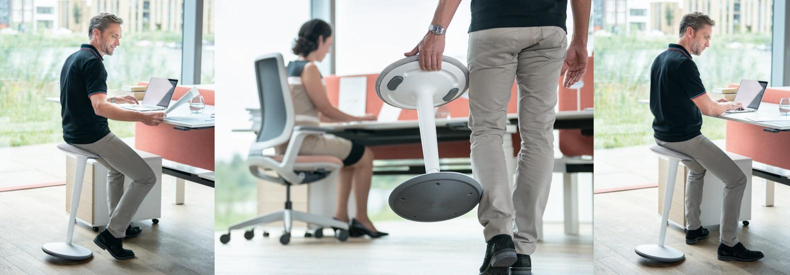 Mit se:fit hat Sedus einen vielseitigen Stehsitz entwickelt, der zur Bewegung animiert und ein lebendiges Sitzen oder Lehnen ermöglicht.